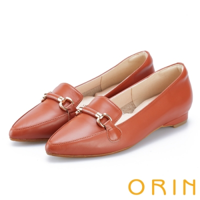 ORIN 質感牛皮馬銜釦樂福鞋 棕色