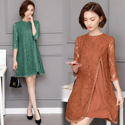 【韓國K.W.】法式浪漫蕾絲雙層紗假兩件洋裝(三色可選)