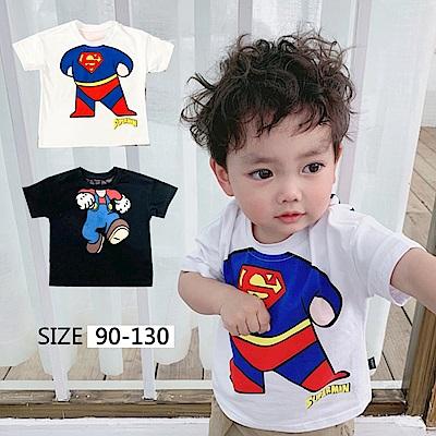 小衣衫童裝  男童卡通人物前後印花短袖T恤1080421