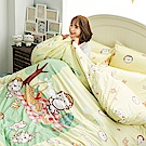 戀家小舖 / 單人床包被套組  麻吉貓野餐派對-兩色可選  100%精梳棉  台灣製