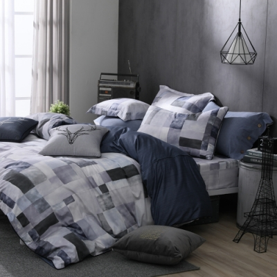 OLIVIA  Picasso 灰 加大雙人床包兩用被套四件組 200織精梳純棉 台灣製