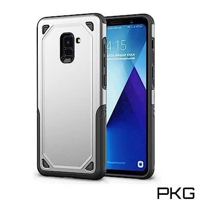 PKG 三星A8 PLUS 2018 抗震防摔保護殼(防摔系列-四方甲)銀色