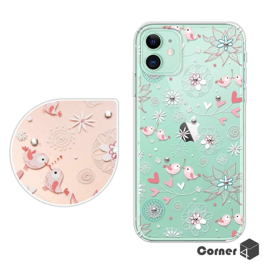 Corner4 iPhone 11 6.1吋奧地利彩鑽雙料手機殼-知更鳥