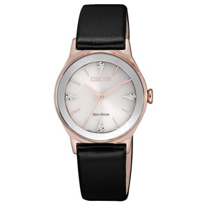 CITIZEN LADY S光動能晶鑽四射時尚腕錶-黑(EM0733-08A)28.2mm
