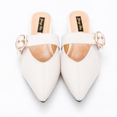 River-Moon穆勒鞋-氣質圓扣低跟穆勒鞋-米
