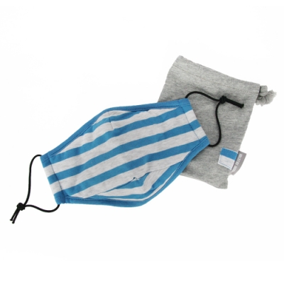 YVONNE  COLLECTION 橫條紋抗菌除臭立體棉布口罩(附束口收納袋)-水藍