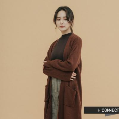 H:CONNECT 韓國品牌 女裝-素面長板針織外套-棕