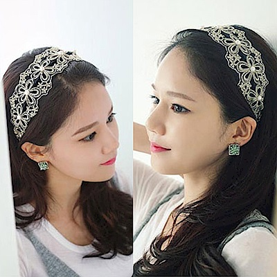 【2件7折】AnnaSofia 奢華金線花蕾 韓式寬髮箍新娘髮飾(黑底系)