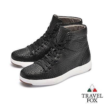 TRAVEL FOX(男) 輕雲系列 高筒超軟牛皮輕量時尚運動鞋 - 蜘蛛黑