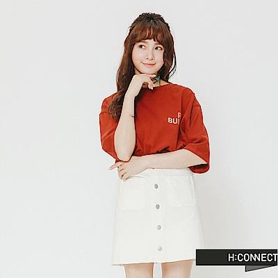H:CONNECT 韓國品牌 女裝-正反印字側開岔上衣-棕