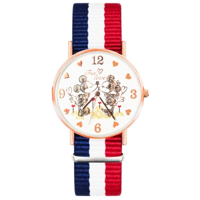DISNEY迪士尼玫瑰金經典織帶系列手錶-甜蜜米奇米妮40mm