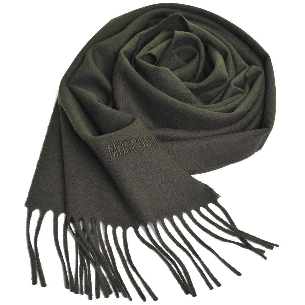 MOSCHINO 義大利製美麗諾羊毛字母LOGO刺繡高質感羊毛圍巾(軍綠色) @ Y!購物