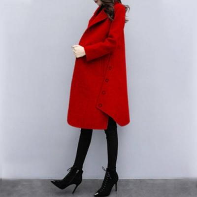【韓國K.W.】毛呢長版紅色簡約素色毛呢外套-1色