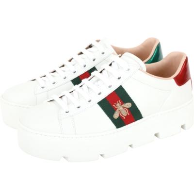 GUCCI Ace 蜜蜂刺繡鋸齒厚底繫帶小白鞋(白色)