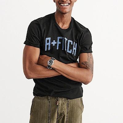麋鹿 AF A&F 經典電繡文字短袖T恤-黑色