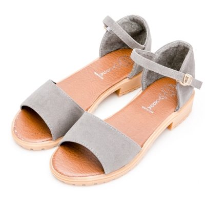 River&Moon涼鞋-簡約素面一字繫踝低跟涼鞋-灰綠