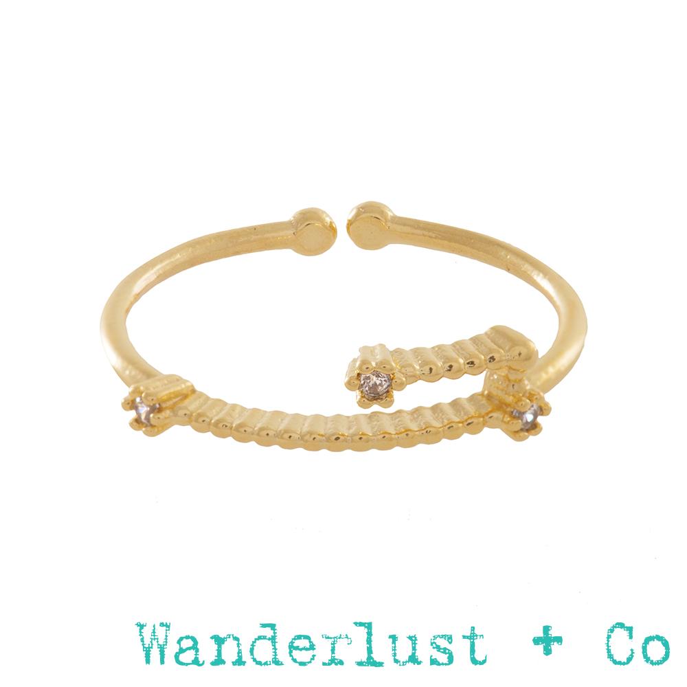 Wanderlust+Co 12星座系列- 金牛座金色水鑽戒指