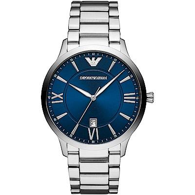 Emporio Armani 亞曼尼羅馬時標時尚手錶(AR11227)-藍X銀/43mm