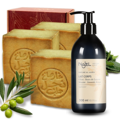 正宗敘利亞Najel月桂油40%阿勒坡手工古皂185g三入+阿勒坡乳液