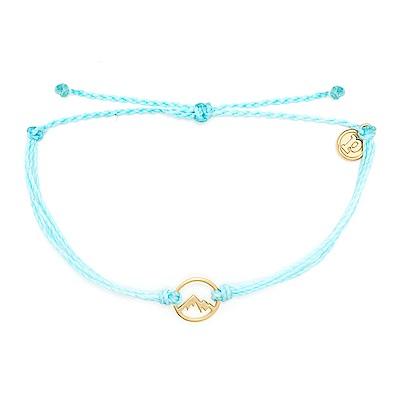 Pura Vida 美國手工 金色魅力小山 水藍色臘線可調式手鍊衝浪防水手繩