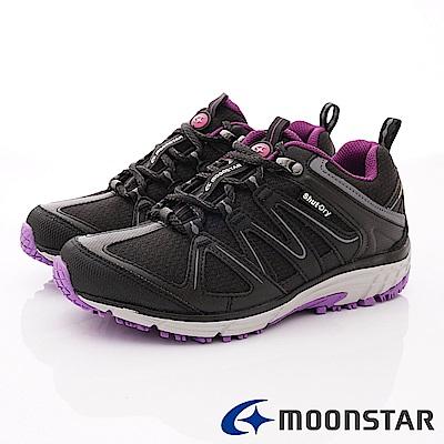 日本Moonstar戶外健走鞋-銀離子4E寬楦款-DL016黑(女段)