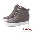 TAS 蜂巢金屬素面牛皮內增高休閒鞋-冬季灰
