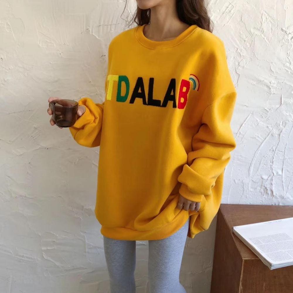 La BellezaKTDALAB彩虹絨毛彩色英文字內裡加絨厚棉刷毛長版上衣 @ Y!購物