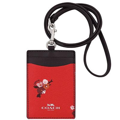 COACH 紅色花朵圖樣PVC識別證件夾