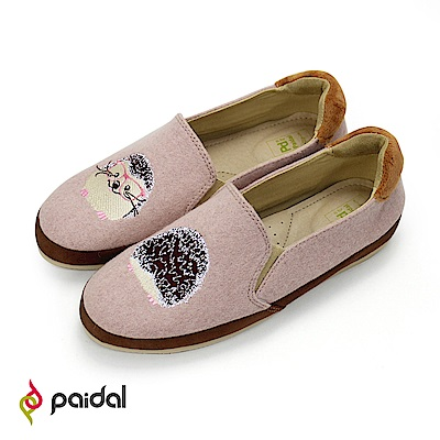 Paidal童話學士刺蝟懶人鞋樂福鞋休閒鞋-毛尼棕