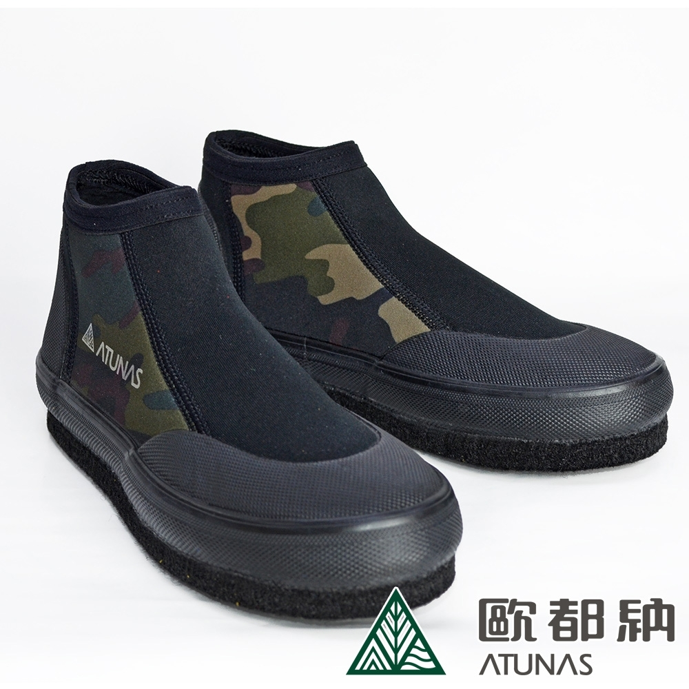 【ATUNAS 歐都納】短筒毛氈防滑鞋/溯溪鞋/釣魚鞋/菜瓜布鞋/潛水鞋S-5黑/強烈迷彩