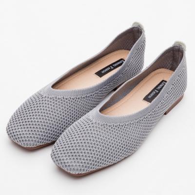 River&Moon韓版超軟飛織素面方頭娃娃鞋 灰藍