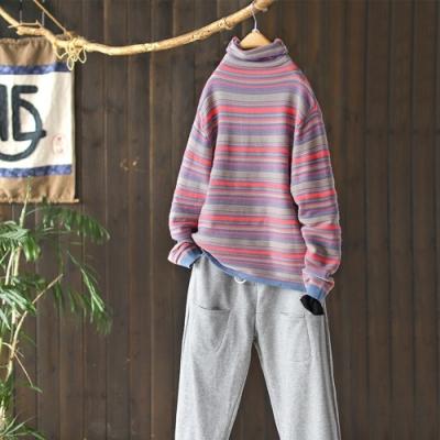 條紋高領針織衫堆堆領毛衣上衣三色可選-設計所在