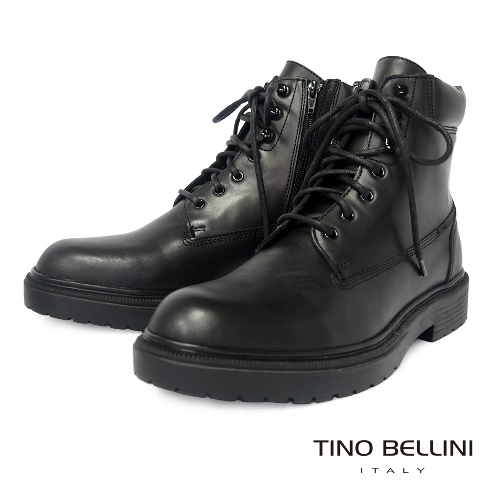 TINO BELLINI 男款牛皮個性風側拉鍊綁帶軍裝靴