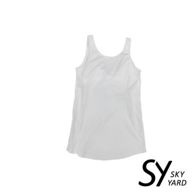 【SKY YARD 天空花園】舒適素色Bra-背心-白色