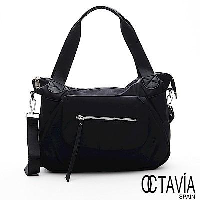 OCTAVIA8 -  法式情調 尼龍空氣口袋彎月托特包 - 風華黑