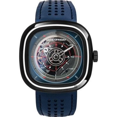 (無卡分期12期)SEVENFRIDAY T3 特殊漸層自動上鍊機械錶-藍/45mm