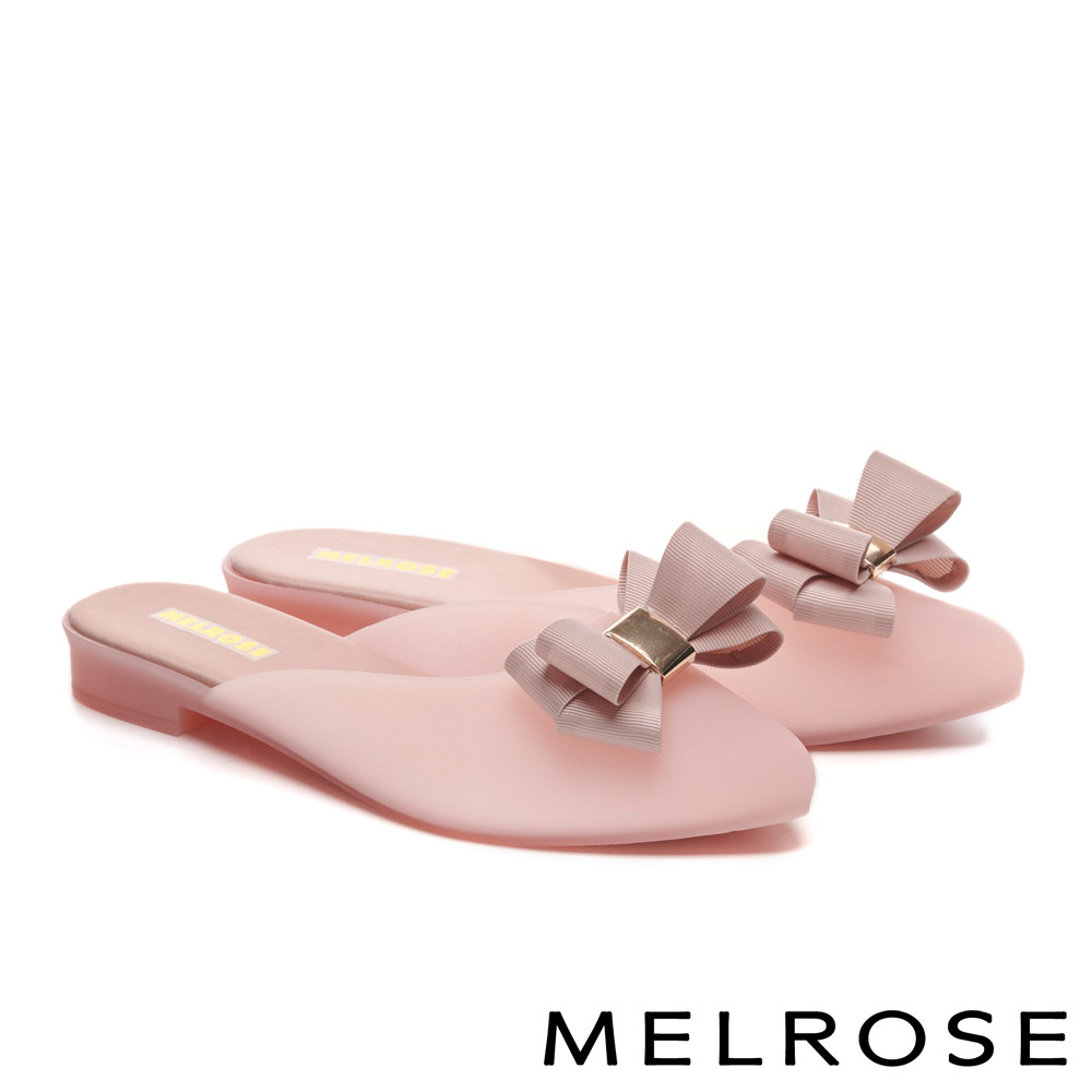 拖鞋 MELROSE 典雅蝴蝶結造型低跟拖鞋-粉