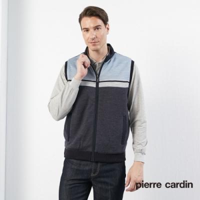 Pierre Cardin皮爾卡登 男裝 毛料混紡剪接保暖背心-藍色(5185304-39)