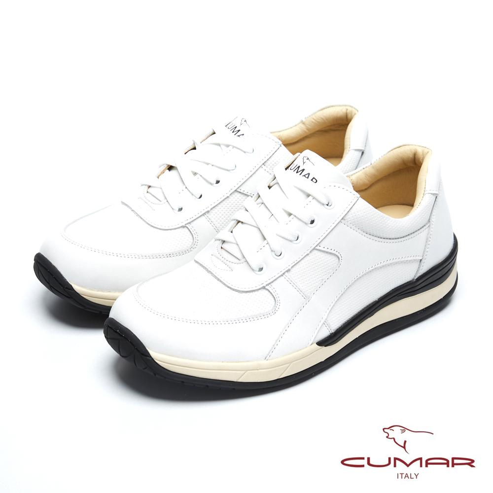 CUMAR 台灣製造 嚴選真皮舒適綁帶休閒鞋-白