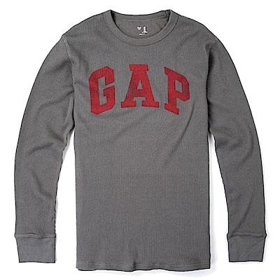 GAP 經典LOGO標誌長袖T恤-深灰色