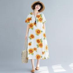 寬鬆舒適向日葵印花寬鬆洋裝M-2XL(共四色)Keer