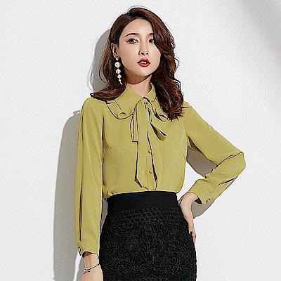 純色氣質木耳邊蝴蝶結長袖襯衫S~XL-SZ