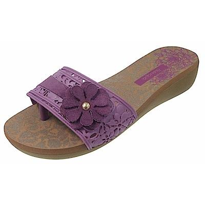 GRENDHA 南美花朵超軟中底鞋-粉紫