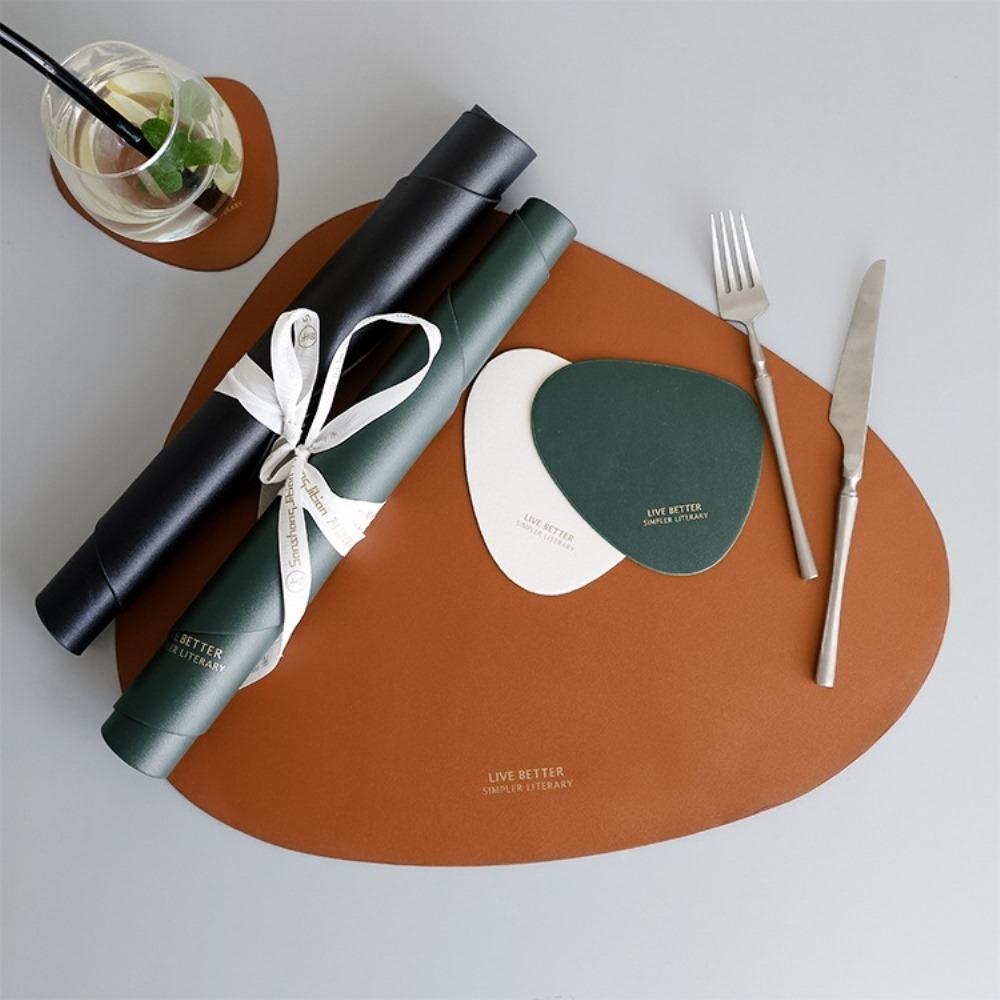 BUNNY LIFE 北歐簡約三角皮革餐墊 (4色)