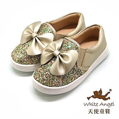 天使童鞋 俏麗亮點大蝴蝶休閒鞋(中-大童) D8038B-金