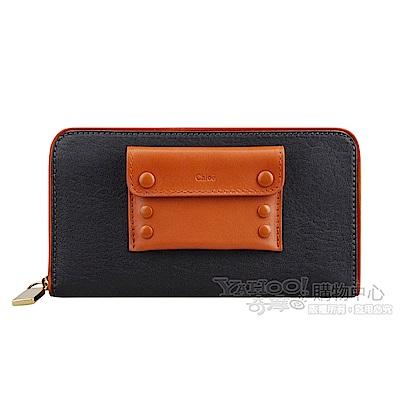 CHLOE 特殊設計附扣式外袋雙色款長夾(黑/黃鶴)