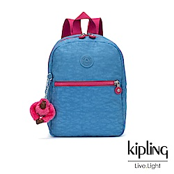 Kipling 馬卡龍藍X棉花糖粉撞色素面後背包-中-KAPONO