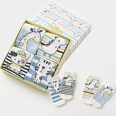 保暖寶寶中筒卡通童襪4雙組-塗鴉動物