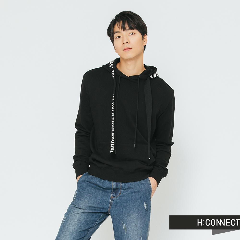 H:CONNECT 韓國品牌 男裝-標語織帶帽T-黑