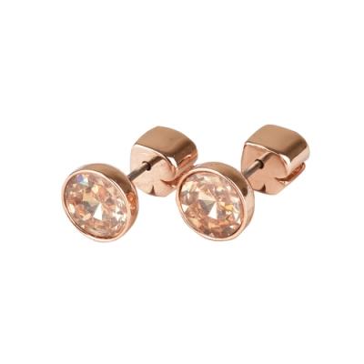 kate spade 黑桃LOGO簡約設計鑽鑲飾穿式耳環(玫瑰金x金)